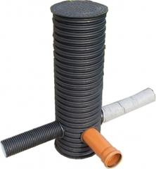 Колодец дренажный смотровой, три отвода по 110мм с дном и крышкой d=368/315х1000мм