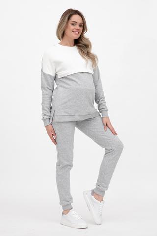 Спортивный костюм для беременных и кормящих 12426 серый