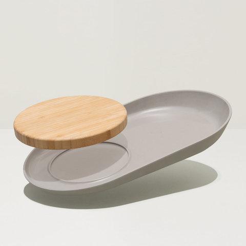 Овальная тарелка с бабуковой доской 34,5*20,5*3,5см Leo
