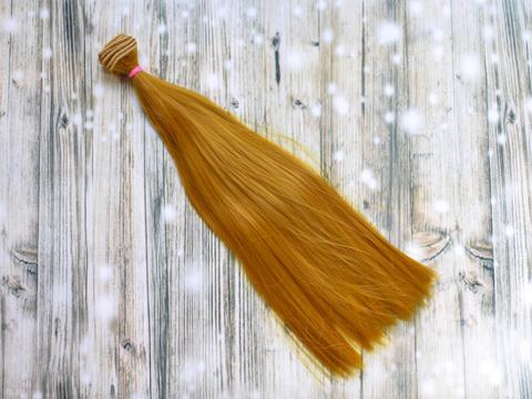 Волосся для ляльки, треси 35 см. Золотистий блонд.