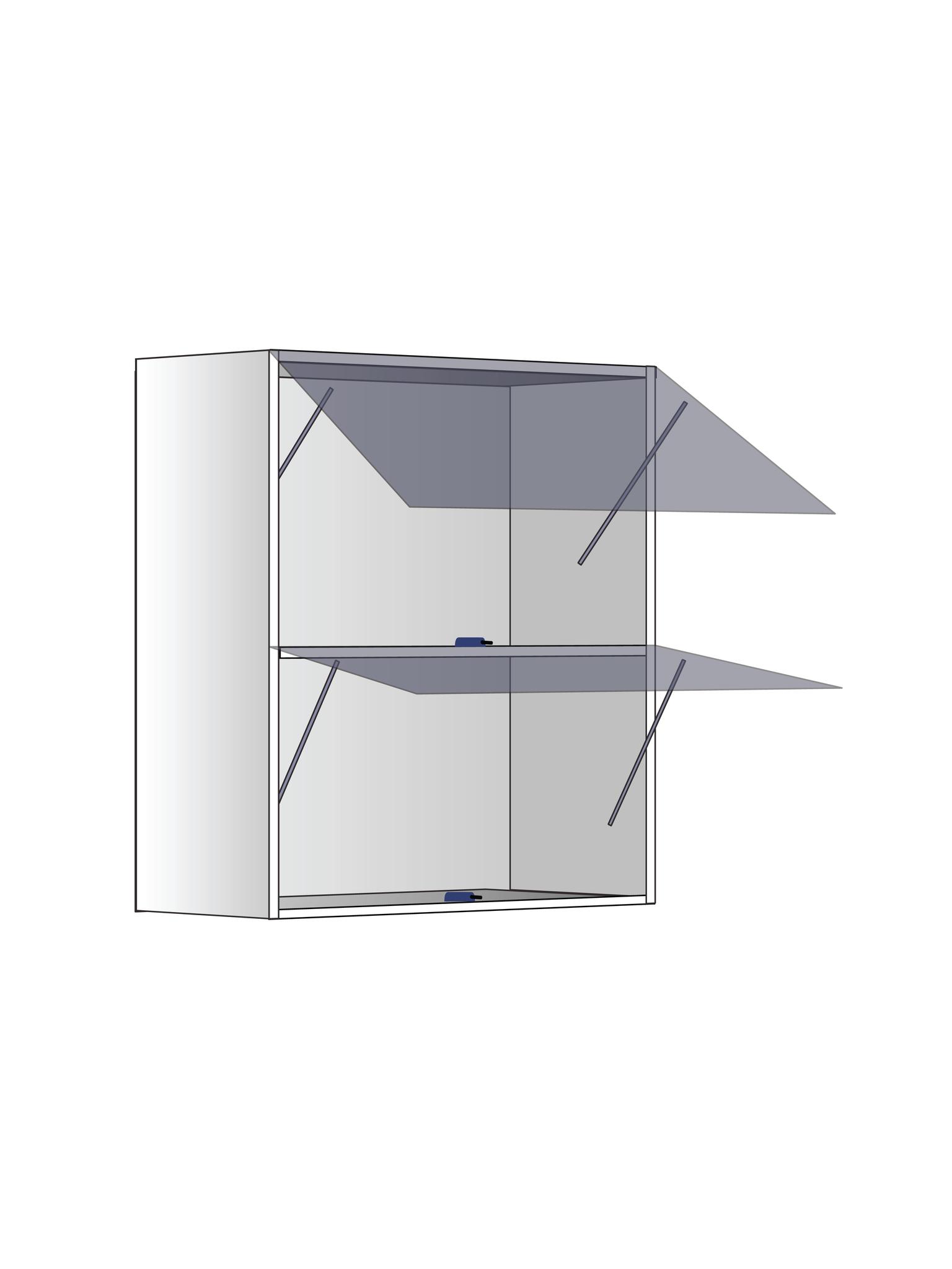 Верхний шкаф c полкой и газлифтами, 720Х600 мм / PushToOpen