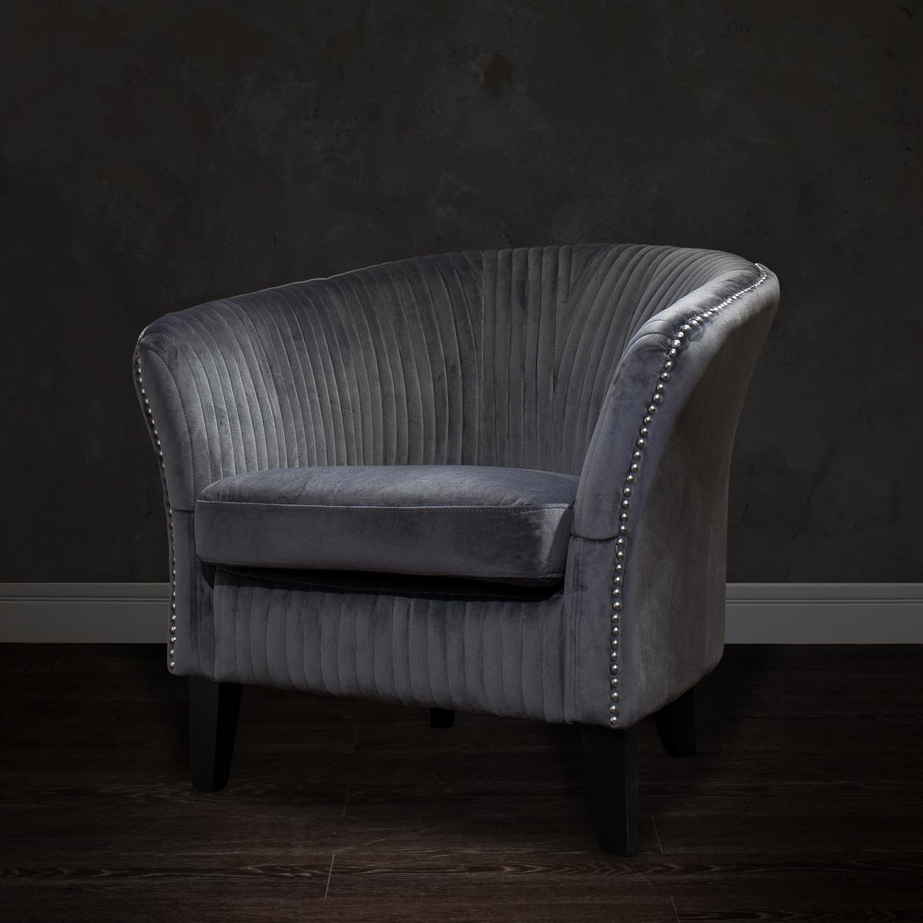 Кресло низкое велюровое серое (PJS30801-PJ636) Garda Decor