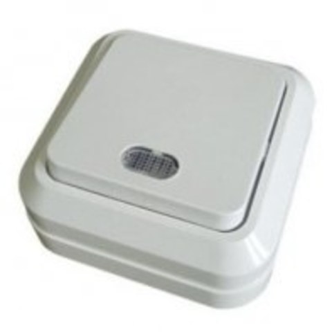 Выключатель 1 клав.накладной с подсв.Ладога TDM белый