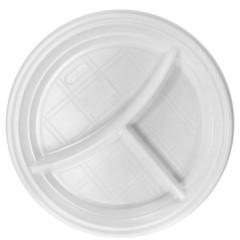 Тарелка одноразовая пластиковая белая 3-х секционная 100 штук в упаковке