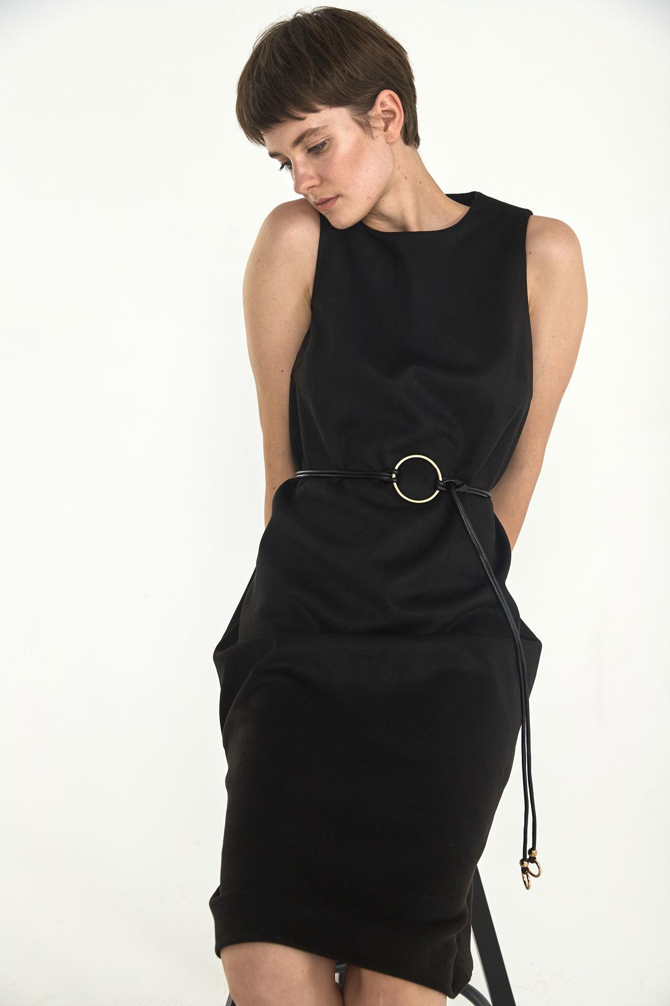 Платье-футляр миди из искусственной замши, угольно-черный