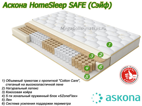 Матрас Askona HomeSleep Safe со слоями в Megapolis-matras.ru