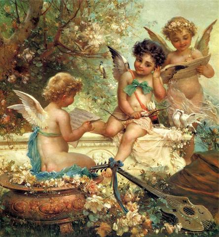 Алмазная Мозаика 40x50 Ангелы занимаются музыкой