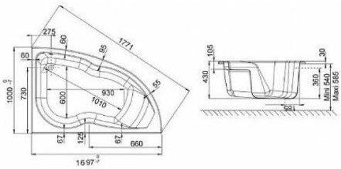 Акриловая ванна Jacob Delafon Micromega Duo 170x105 R E60220RU-00 (правая) схема