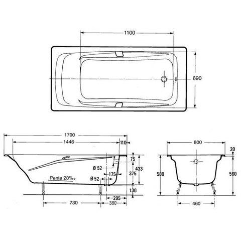 Ванна чугунная Jacob Delafon Repos 170x80 Е2915 схема