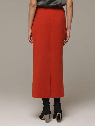 Женская оранжевая юбка с разрезом из 100% кашемира - фото 4