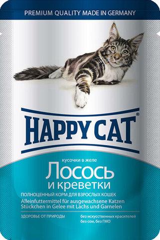 купить Happy Cat Adult Chunks in Jelly Salmon and Shrimp пауч (влажный корм) для кошек с лососем и креветками