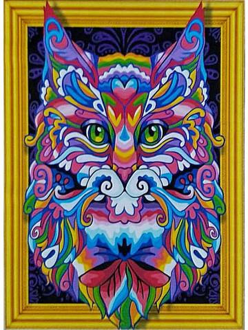 Алмазная Мозаика 5D 40x50 Разноцветный волнистый котенок