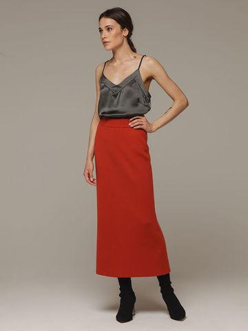 Женская оранжевая юбка с разрезом из 100% кашемира - фото 1