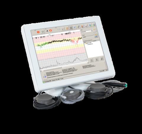 Фетальный монитор с автоматическим анализом КТГ Сономед-200 USB-модуль с ноутбуком (кардиотокограф) для одно/двуплодной беременности