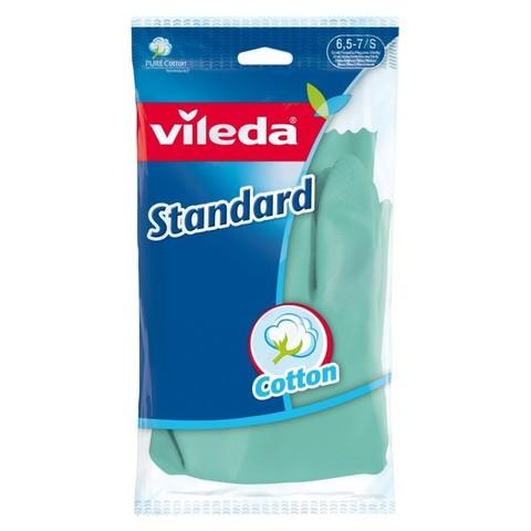Перчатки хозяйственные Vileda Gloves Standart S резиновые,напыление хлопок
