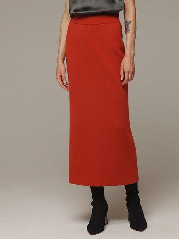 Женская оранжевая юбка с разрезом из 100% кашемира - фото 2
