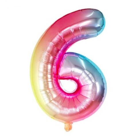 Цифра 6 Градиент Радуга Разноцветная