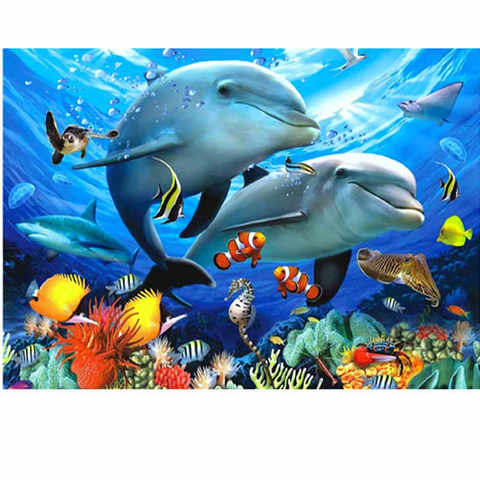 Алмазная Мозаика 40x50 Яркий подводный мир