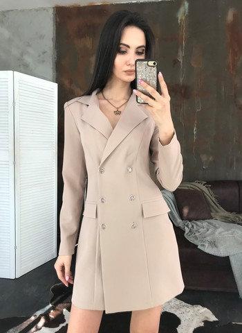 Лиона. Великолепное платье-пиджак. Бежевый