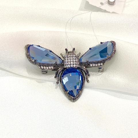 Брошь 2-в-1 Мотылек Кристальный цирконы голубой