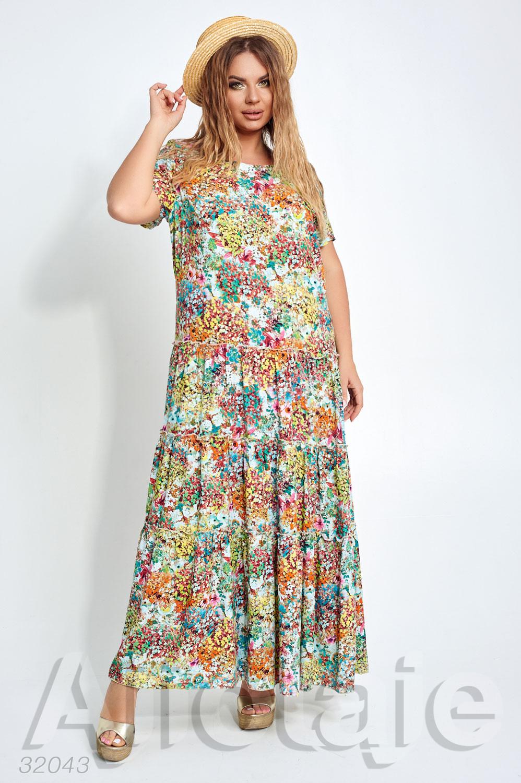 Платье макси в яркий цветочный узор