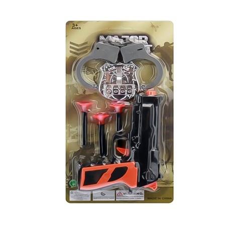 Полицейский набор с жетоном и пистолетом с пулями-липучками на картоне 1кор*1бл*6шт