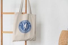 Сумка-шоппер с принтом FC Chelsea (ФК Челси) бежевая 006