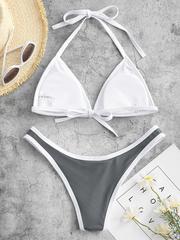 купальник раздельный бикини спортивный серый 2
