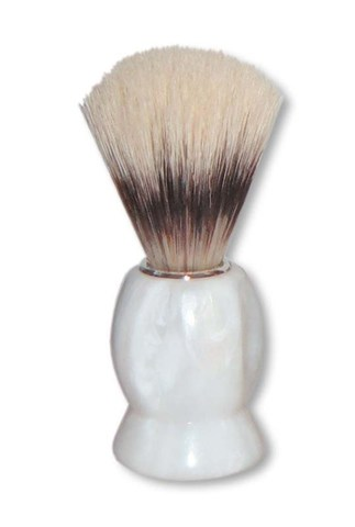Помазок для бритья Mondial, пластик, свиной ворс, рукоять - цвет белый