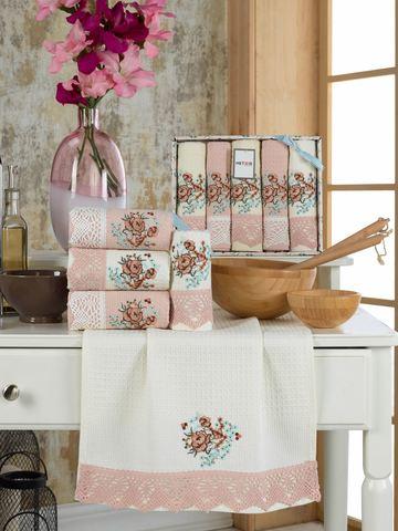 Салфетки METEOR вафель с гипюром. в коробке  40*60 (5 шт.) BERTICE цвет персиковый