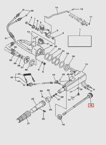 Вал регулировки газа  для лодочного мотора T40 Sea-PRO (14-16)