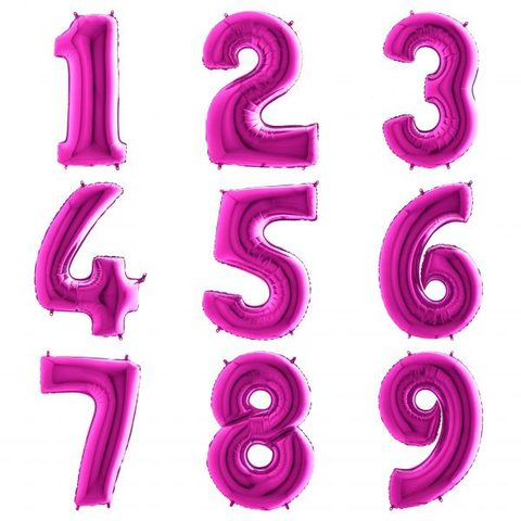 Ярко-розовые цифры с гелием 102 см