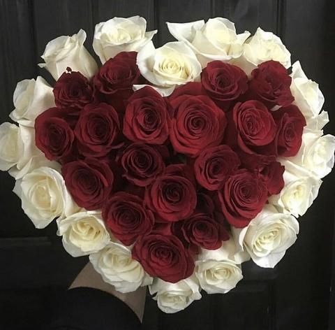 35 роз в форме сердца #17814