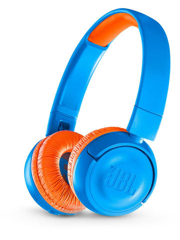 JBL / Детские беспроводные наушники с ограничением громкости | синий с оранжевым bluetooth