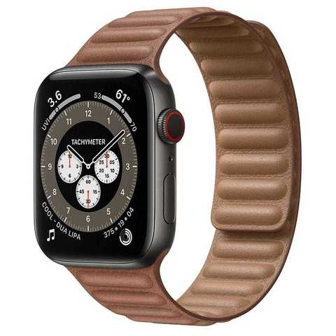 Умные часы Apple Watch Edition Series 6 GPS + Cellular 44mm Space Black Titanium Case with Leather Link (Saddle Brown)