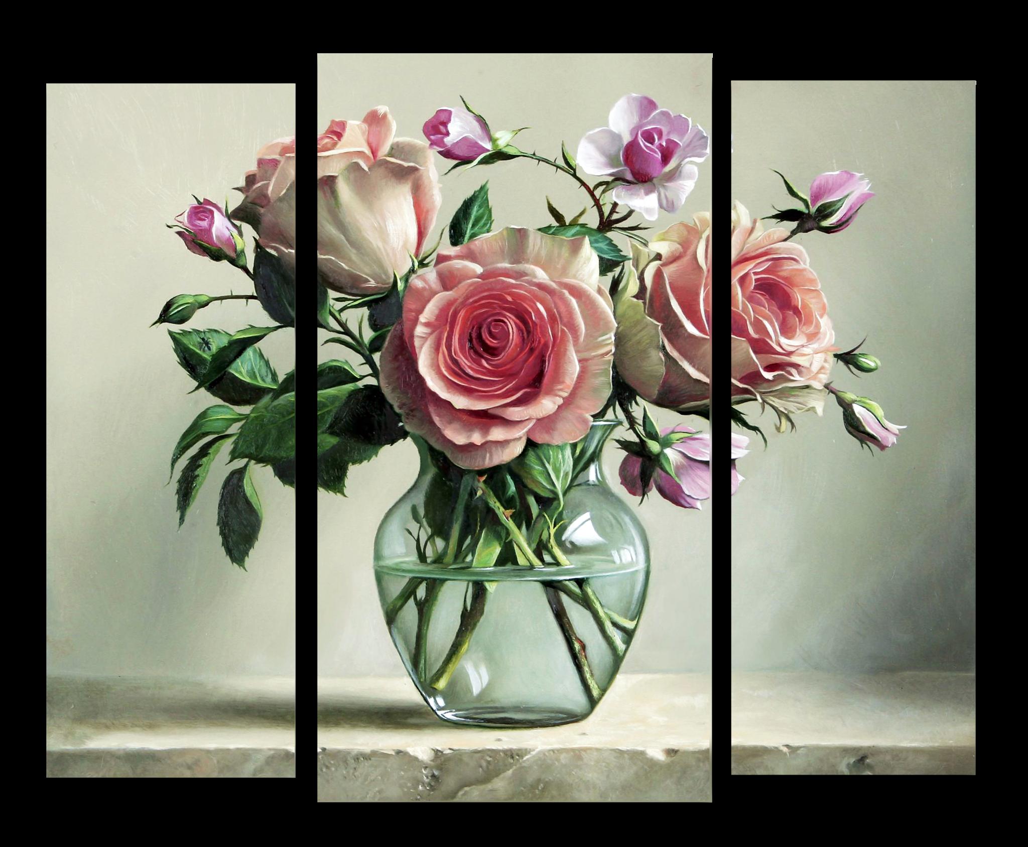 """Цветы Модульная картина """"Розы в стеклянной вазе"""" М1056_M_загибы_90х76.png"""