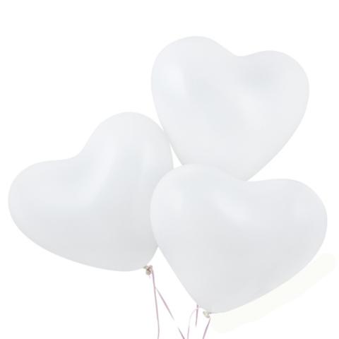 Воздушные шары сердца белые