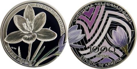 1000 драм 2011 год. Армения. Шафран адама Серебро