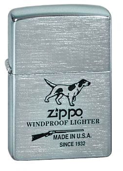 Зажигалка Zippo Hunting Tools с покрытием Brushed Chrome, латунь/сталь, серебристая, матовая