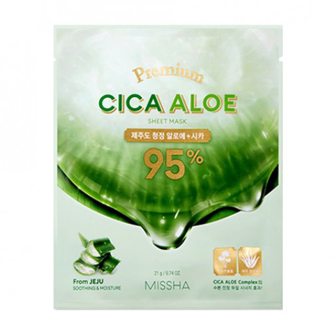 Missha Premium Cica Aloe Sheet Mask успокаивающая маска с центеллой и алоэ для лица