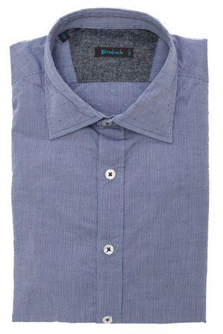 Голубая рубашка в тонкую тёмно-синюю полоску