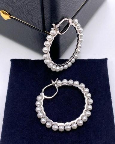 21241 - Серьги-конго из серебра с жемчугом