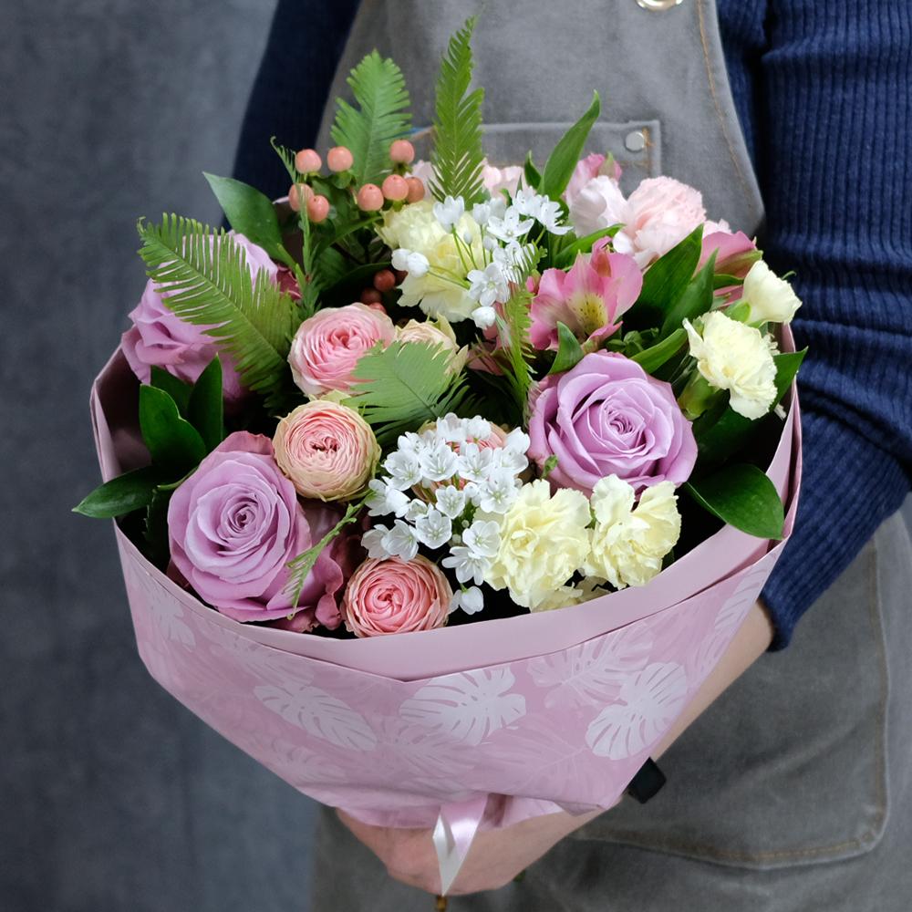 Купить весенний букет сиреневый сливочный розовый Пермь заказать онлайн доставка на дом