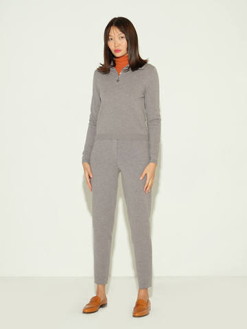 Женские брюки серого цвета из шерсти и шелка - фото 2