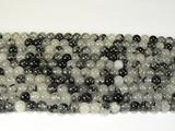 Нить бусин из кварца рутилового черного, шар гладкий 6мм