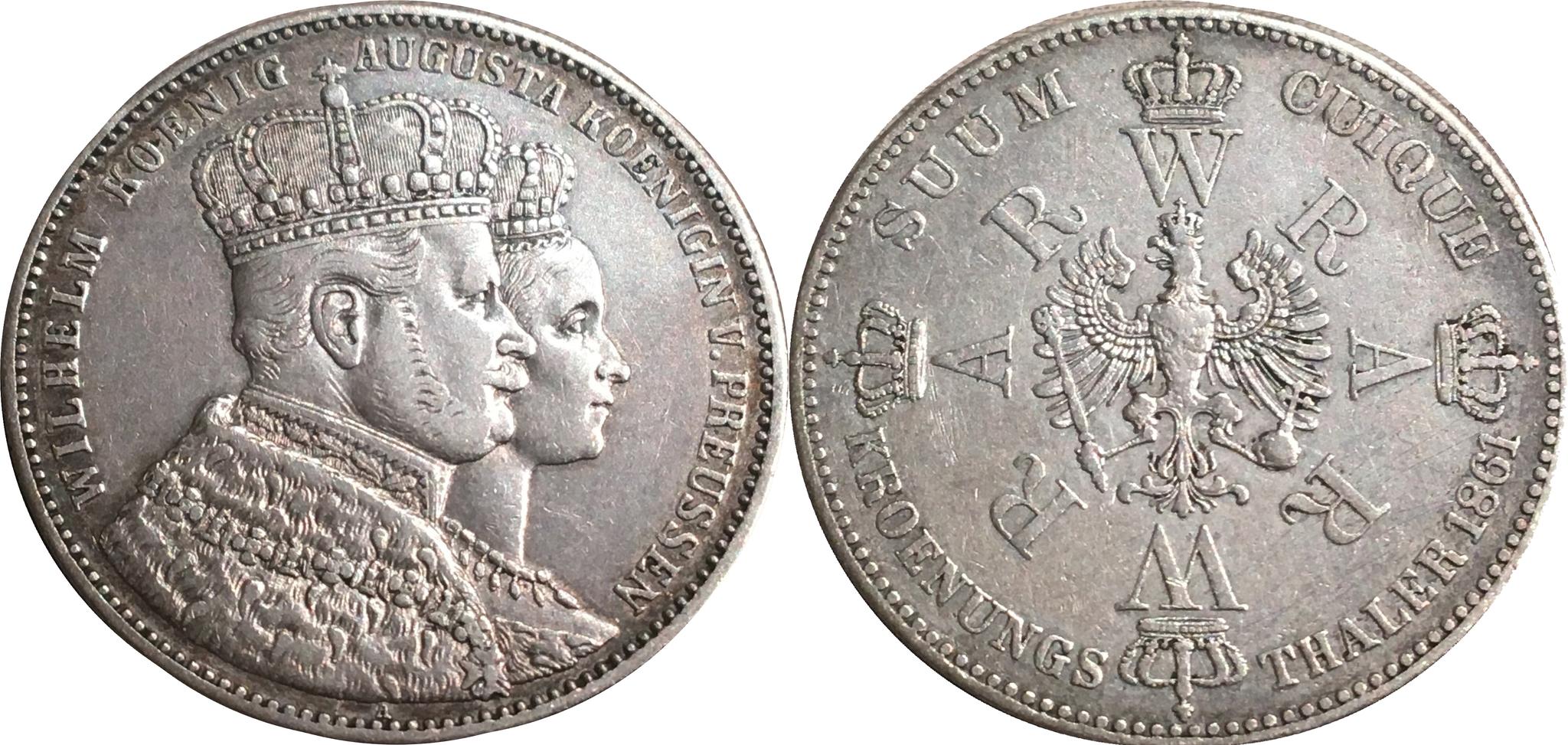 1 талер 1861 год коронация Вильгельма. Пруссия.