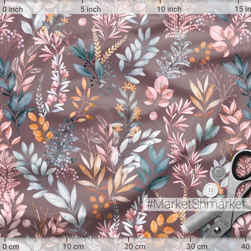 Акварельные веточки на пыльно-розовом фоне