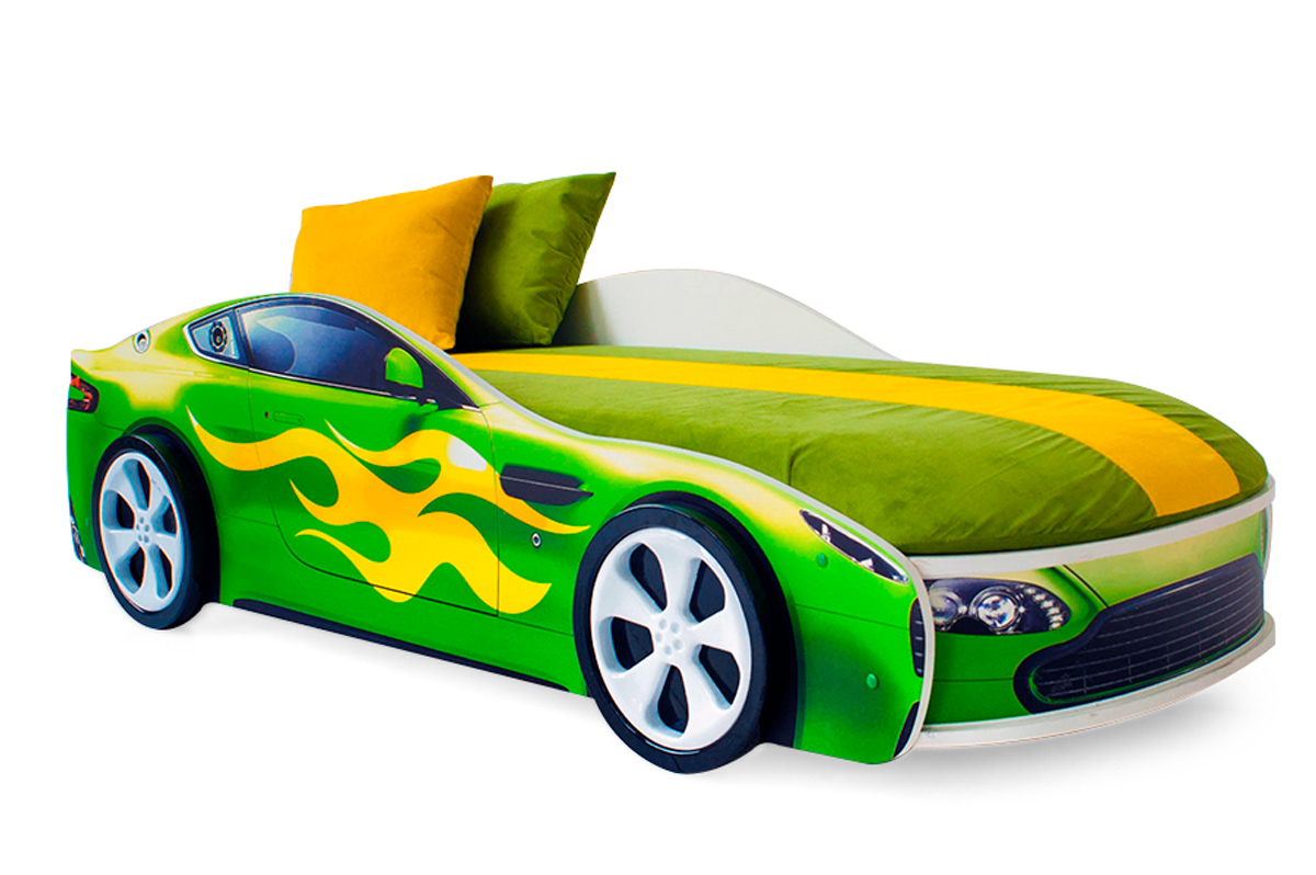 Кровать-машина «Бондмобиль зеленый»