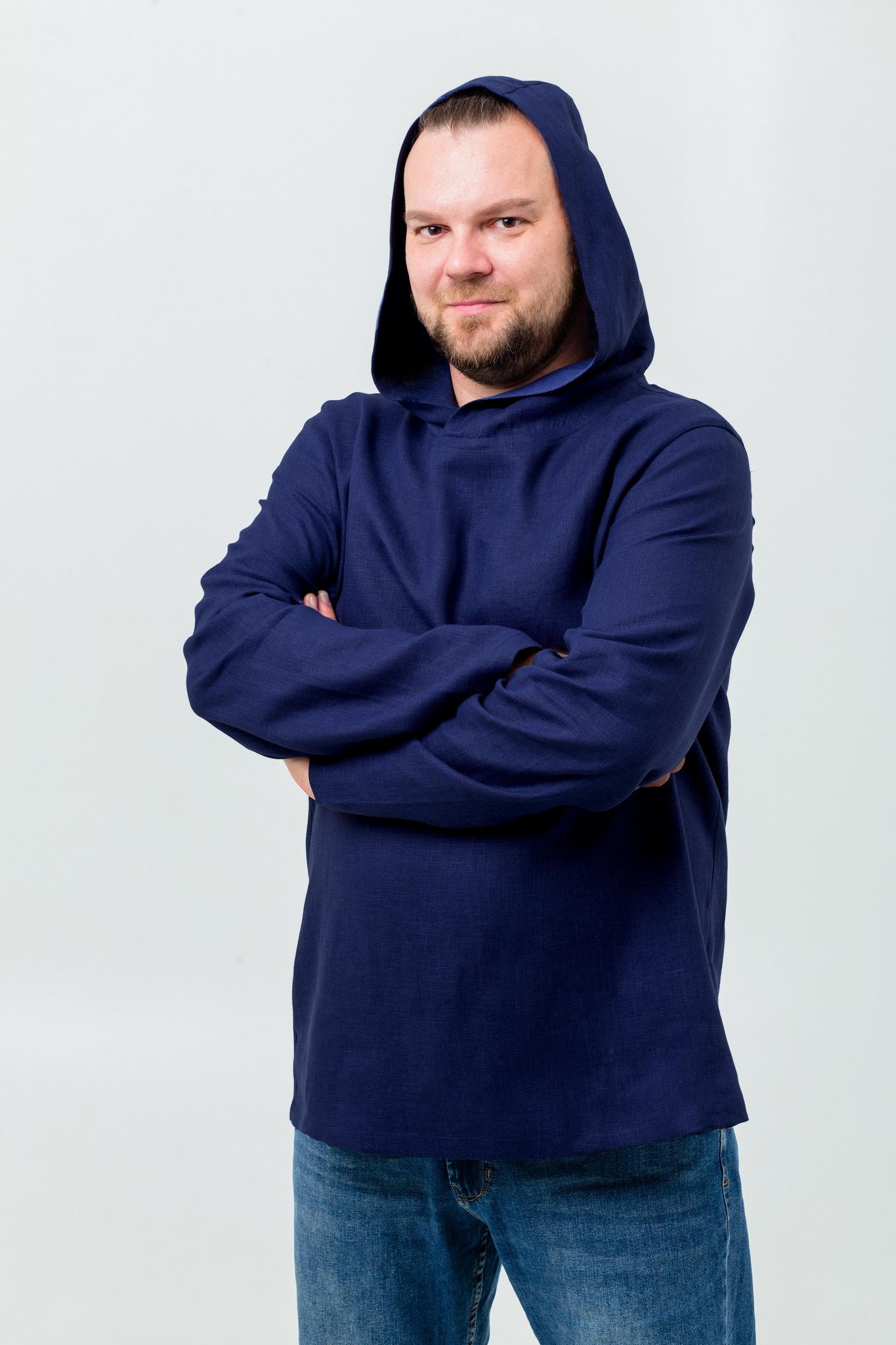 Рубаха мужская современная с капюшоном