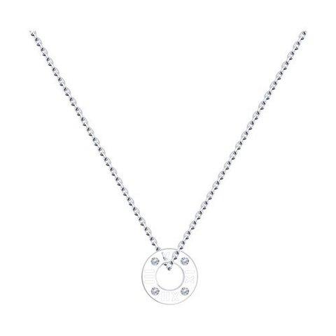 94070454 - Колье из серебра с круглой подвеской с фианитами
